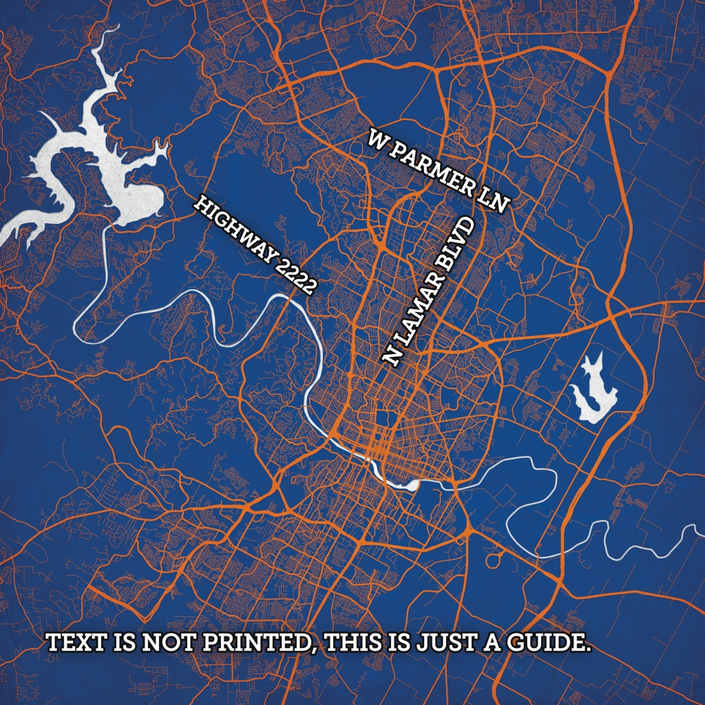 Austin, Texas Map Art - City Prints - Printable Map Of Austin Tx
