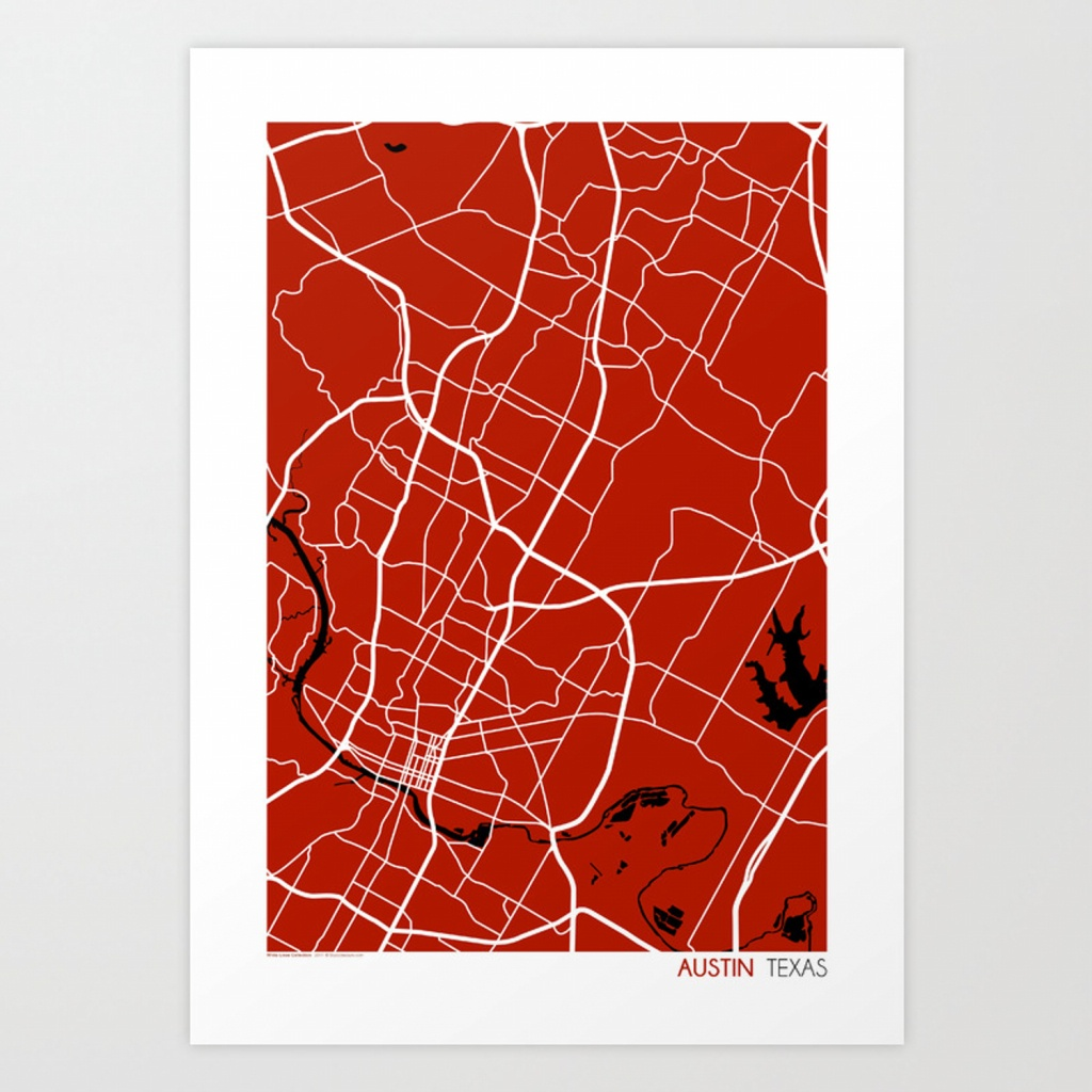 Austin Texas Map Art Printstudiotesouro   Society6 - Texas Map Art