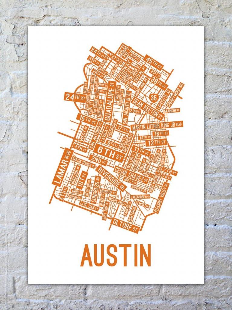 Austin, Texas Street Map Print   Things To Buy   Austin Map, Texas - Printable Map Of Austin Tx