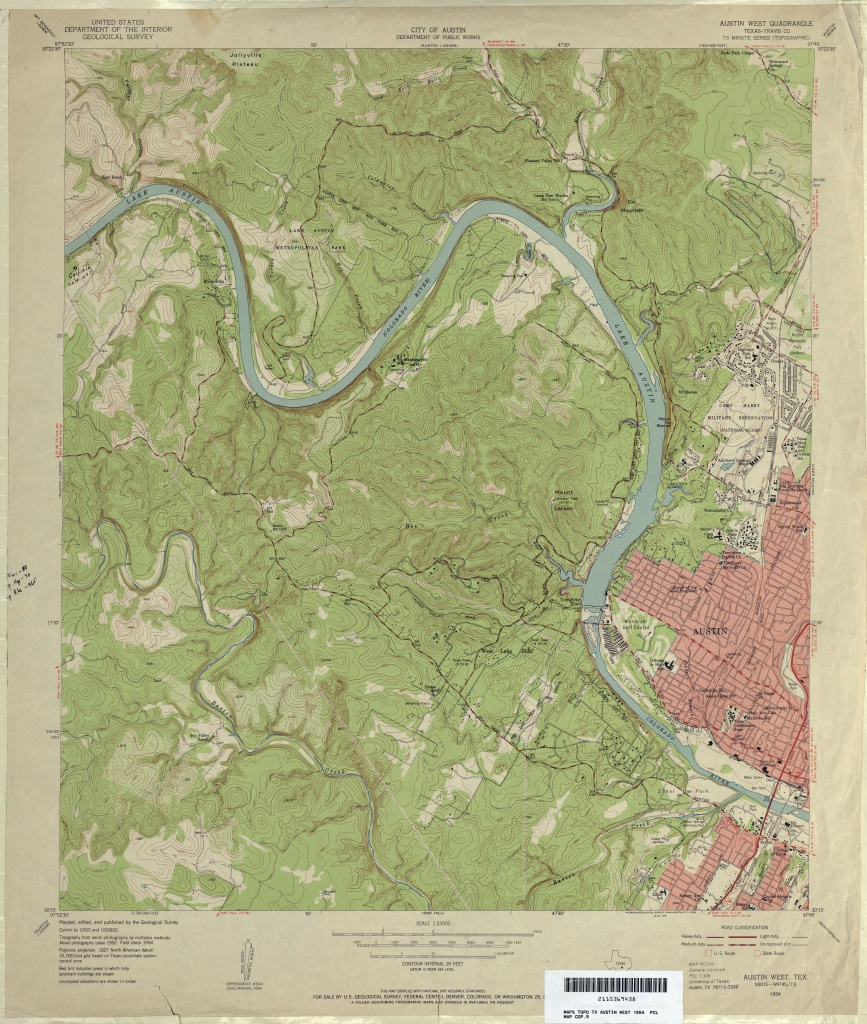Austin, Texas Topographic Maps - Perry-Castañeda Map Collection - Ut - Topographical Map Of Texas Hill Country