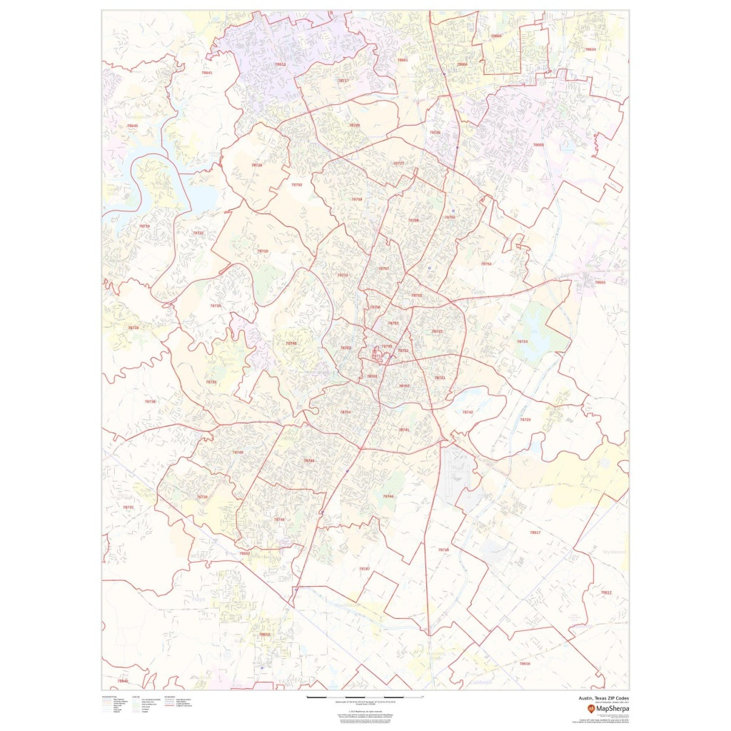 Austin, Texas Zip Codes - The Map Shop - Texas Zip Code Map