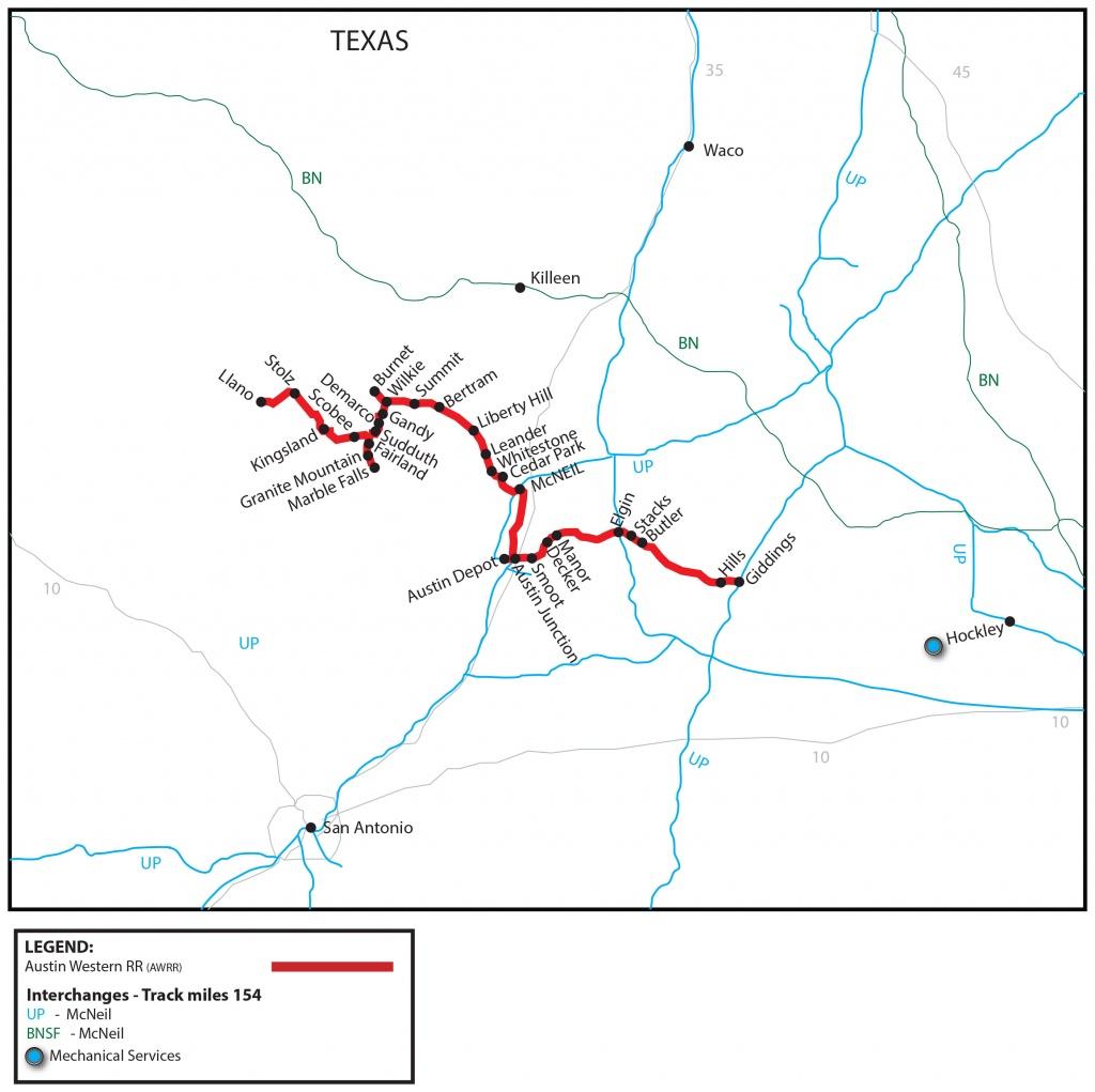Austin Western Railroad (Awrr) - Watco Companies - Giddings Texas Map
