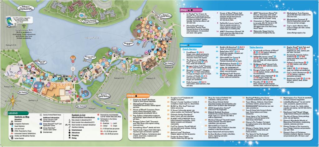 Backside Of Downtown Disney Brochure   Disney Springs   Disney Map - Map Of Downtown Disney Orlando Florida