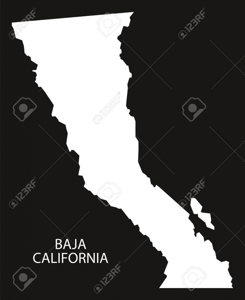 Baja California Mexico Map Black Inverted Silhouette Royalty Free - Baja California Norte Map