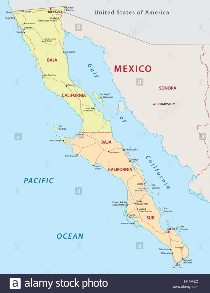 Baja California Road And Administrative Map Stock Vector Art - Baja California Road Map