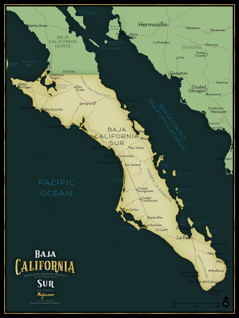 Baja California Sur Limited Edition Map - Maps - Baja California Norte Map