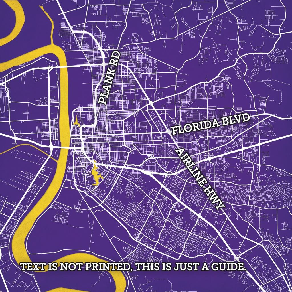 Baton Rouge, Louisiana Map Art - City Prints - Printable Map Of Baton Rouge