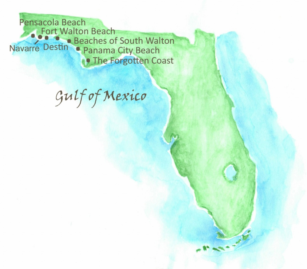 Beaches Of Northwest Florida Map   Southern Vacation Rentals - Panama City And Destin Florida Map