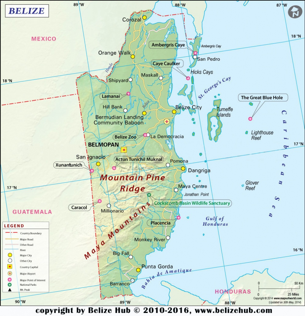 Belize Map | Map Of Belize - Download Maps Of Belize - Printable Map Of Belize
