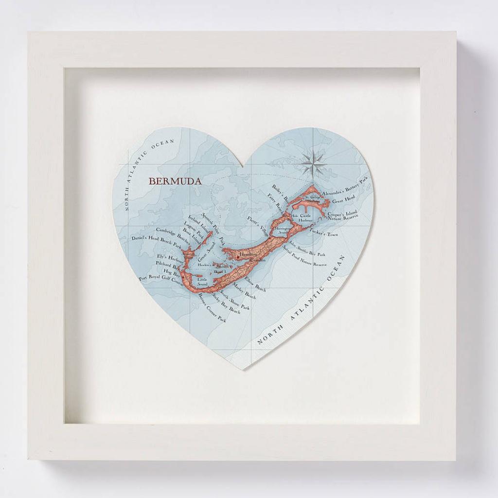 Bermuda Map Heart Printbombus Off The Peg | Notonthehighstreet - Printable Map Of Bermuda
