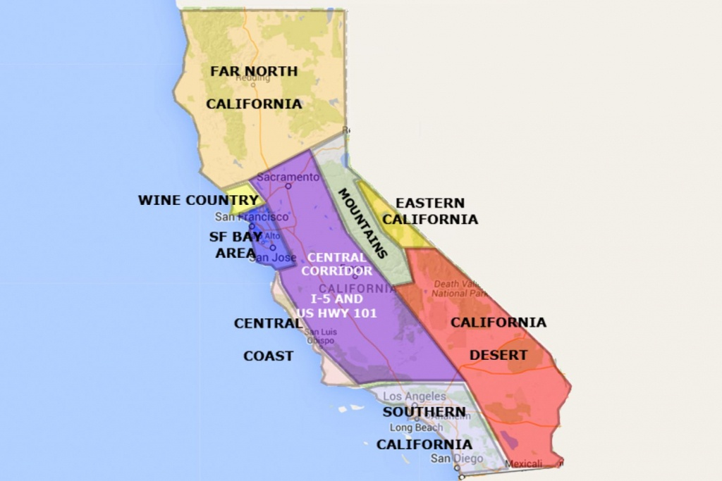 Best California Statearea And Regions Map - Map Of Central California Coast Towns