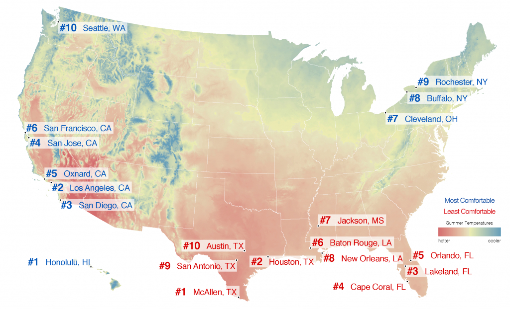 Best Places To Live – City Rankings – Most Comfortable Summer Cities - Florida Heat Index Map