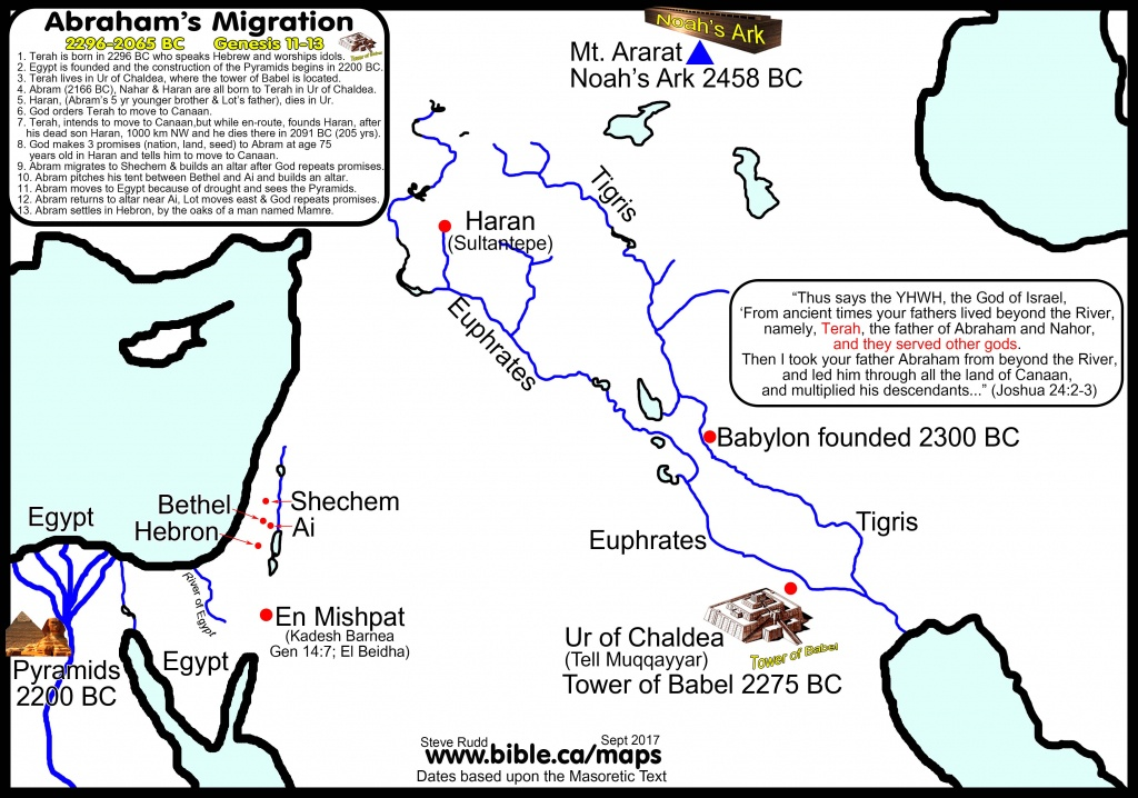 Bible Maps: Abraham's Journey: 2085-2073 Bc Abram's Migration - Printable Bible Maps For Kids