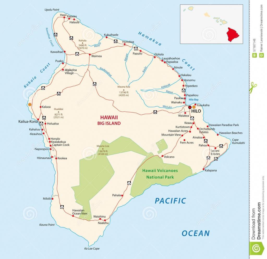 Big Island Map Stock Vector. Illustration Of Illustration - 57187146 - Big Island Map Printable