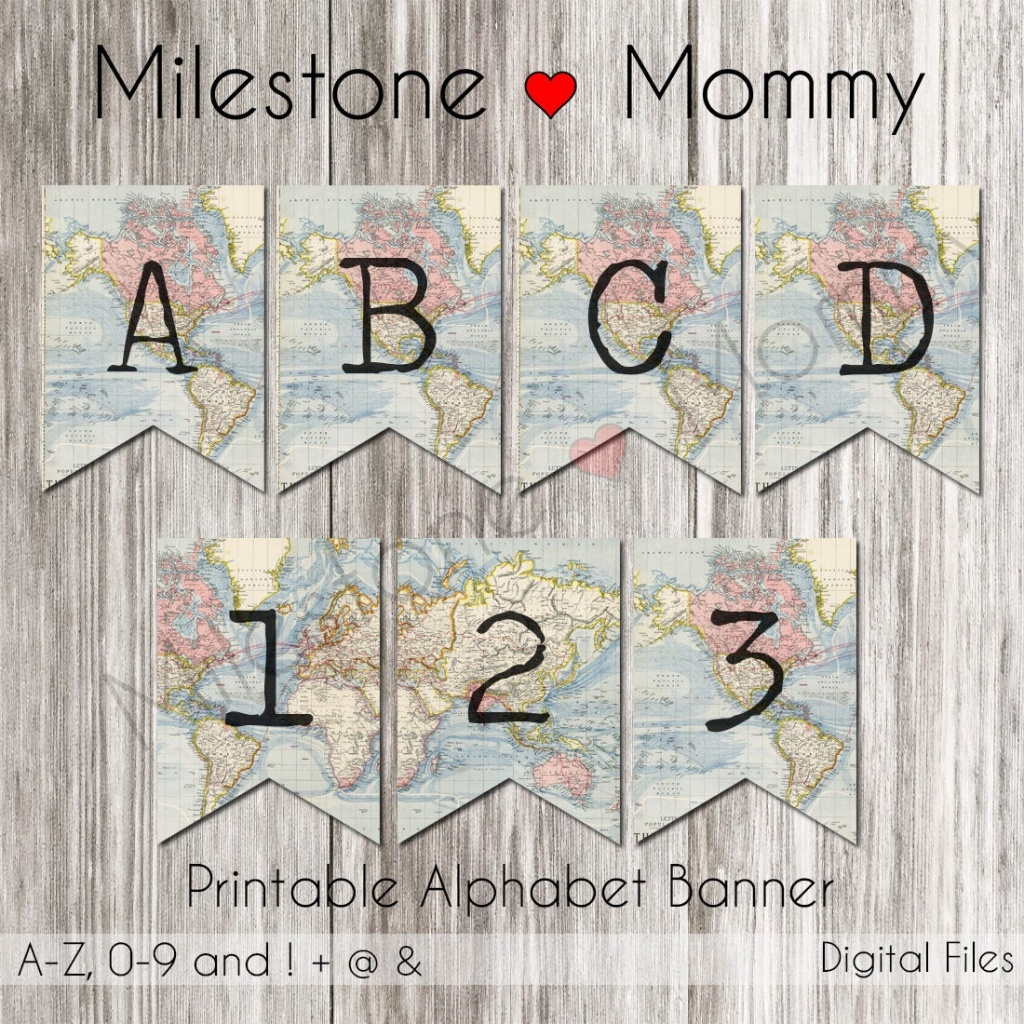 Birthday Banner Map Travel Party Banner Printable Banner | Etsy - Printable Map Banner