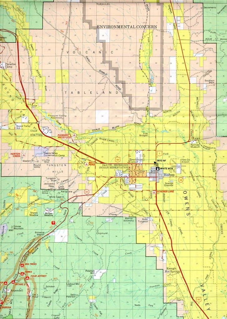 Bishop California Forest And Owens Valley Map - Map Of Bishop California Area