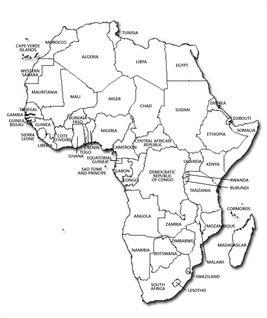 Black And White Printable Africa Map | Campinglifestyle - Map Of Africa Printable Black And White