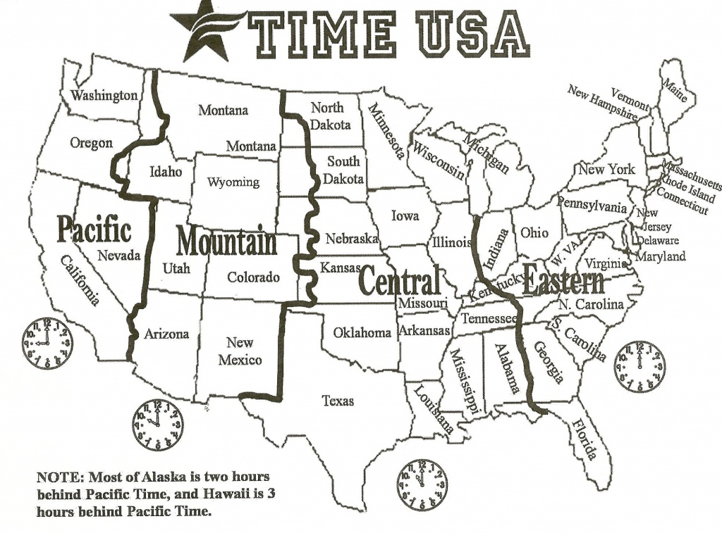 Black And White Us Time Zone Map - Google Search   Social Studies - Maps With Time Zones Printable