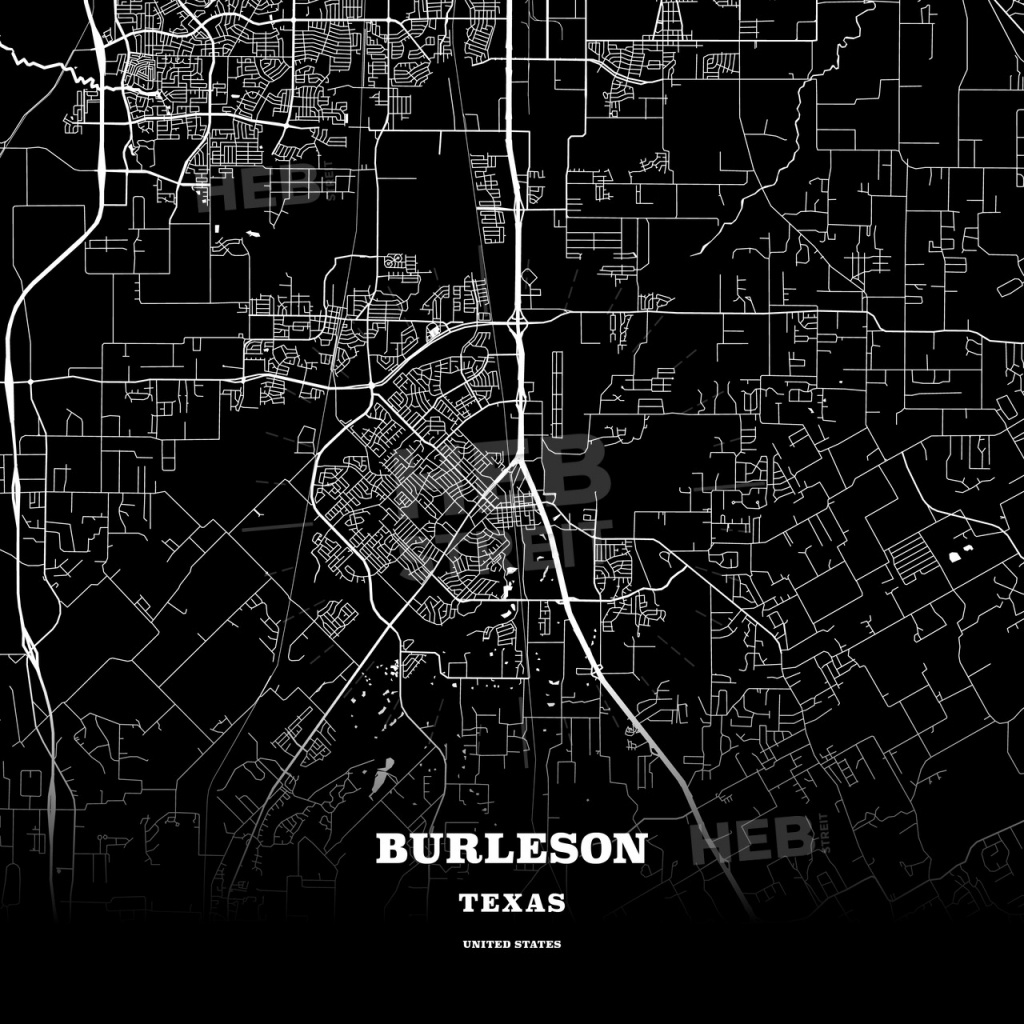 Black Map Poster Template Of Burleson, Texas, Usa | Hebstreits Sketches - Texas Map Poster