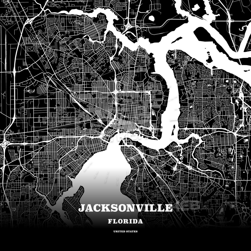 Black Map Poster Template Of Jacksonville, Florida, Usa | Hebstreits - Florida Map Poster