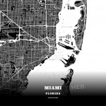 Black Map Poster Template Of Miami, Florida, Usa | Hebstreits Sketches - Florida Map Poster