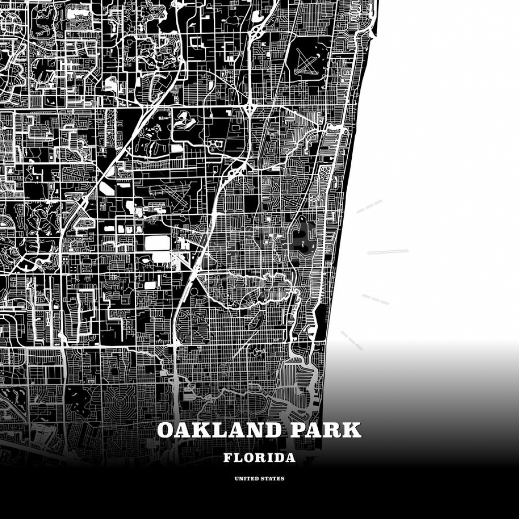 Black Map Poster Template Of Oakland Park, Florida, Usa | Maps - Oakland Park Florida Map