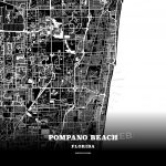 Black Map Poster Template Of Pompano Beach, Florida, Usa - Florida Map Poster