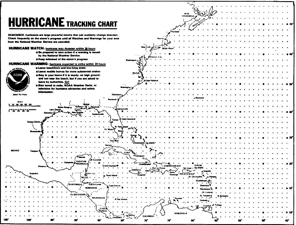 Blank Hurricane Tracking Chart | Hurricanes, Typhoons & Tropical - Printable Hurricane Tracking Map