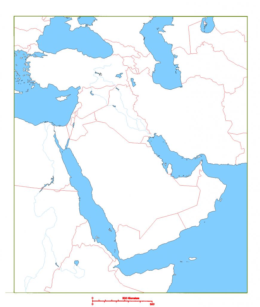 Blank Map Of Middle East | Cc Geography | Geography, Middle East Map - Printable Map Of Middle East