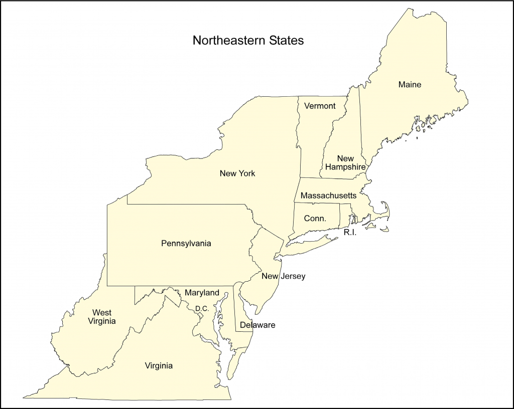 Blank Map Of The Northeast   Sitedesignco - Printable Map Of The Northeast