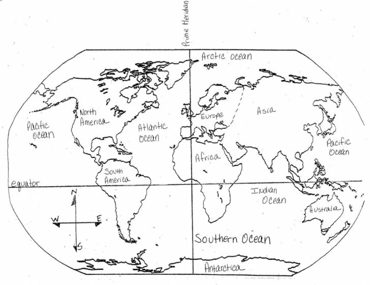 Map Of Continents And Oceans Printable