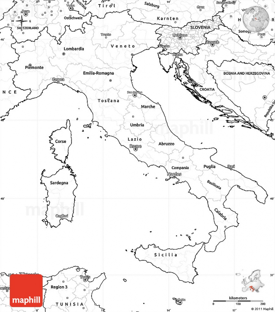 Blank Simple Map Of Italy - Printable Map Of Italy To Color