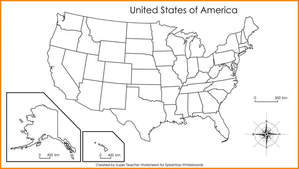 Blank Us Map With States Names Labeled Inside United Outline - Printable Blank Us Map With State Outlines