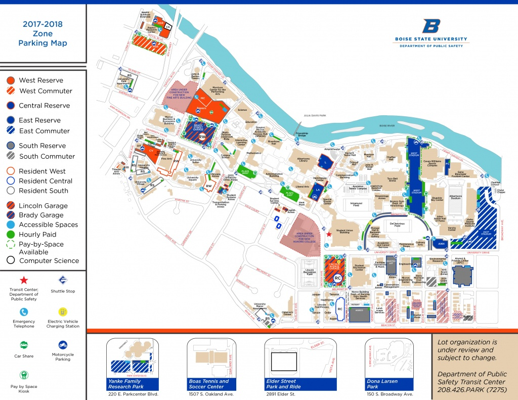 Boise State University Map | Map 2018 - Boise State University Printable Campus Map