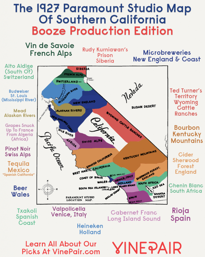 Booze Production Edition: The 1927 Paramount Map Of Southern - California Beer Map