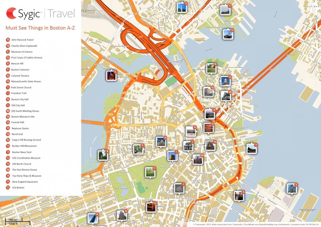 Boston Printable Tourist Map   Sygic Travel - Printable Map Of Downtown Boston