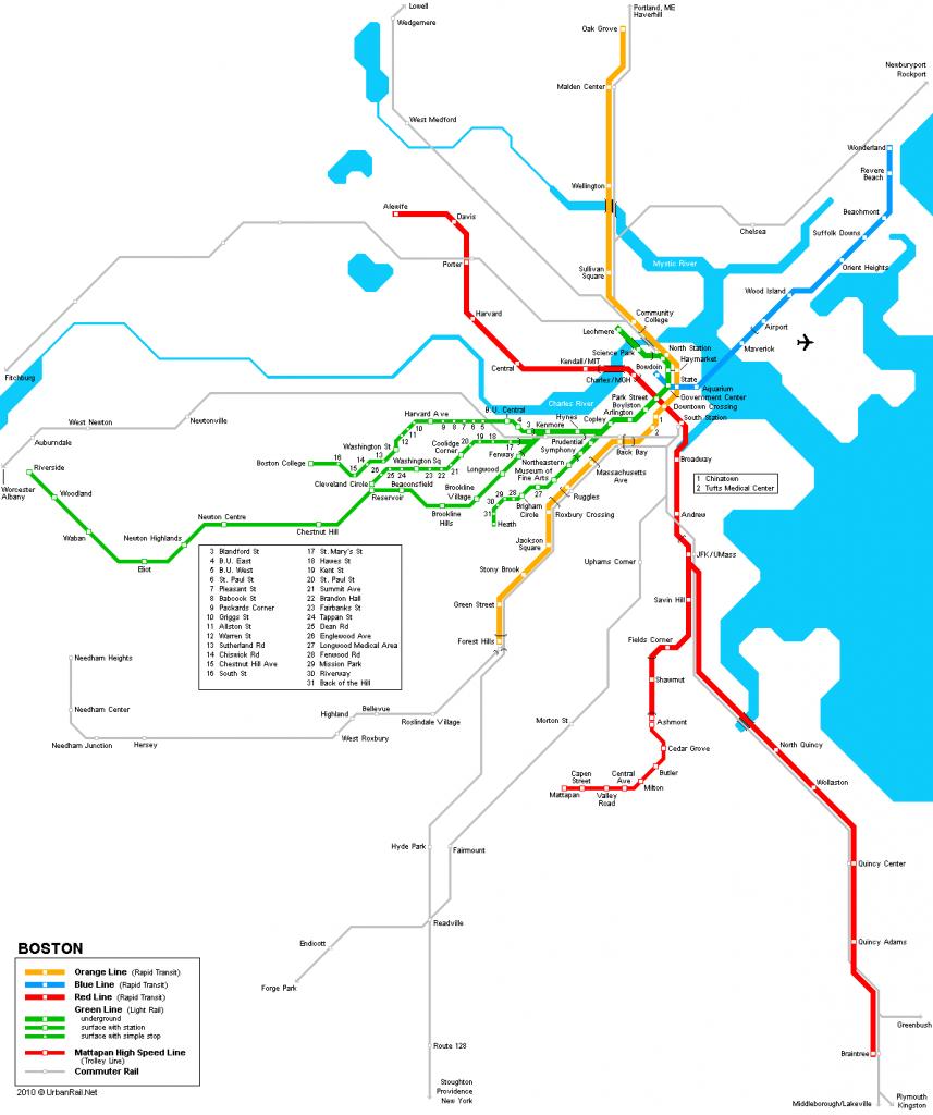 Boston Subway Map For Download | Metro In Boston - High-Resolution - Mbta Subway Map Printable