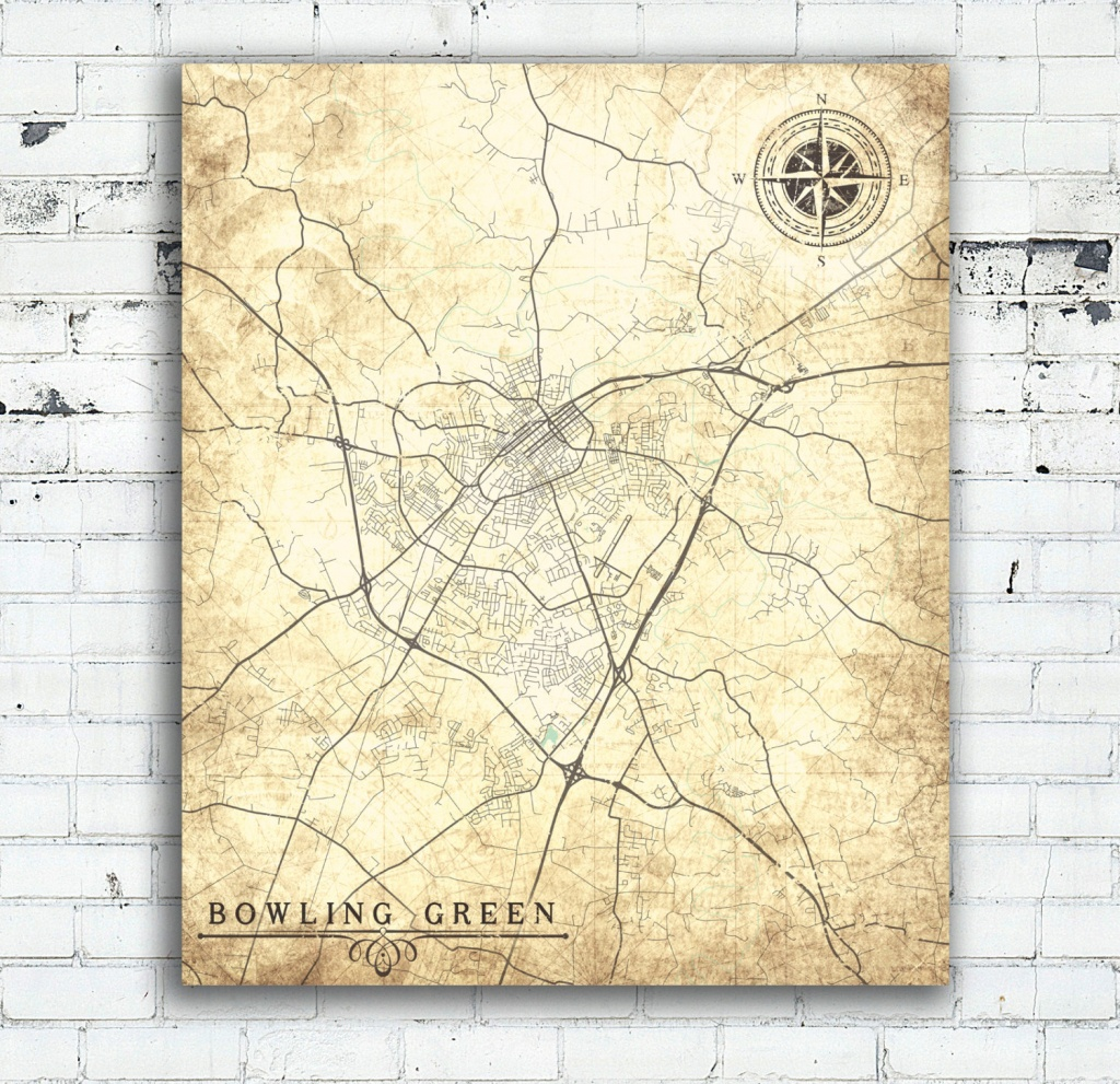 Bowling Green Ky Canvas Print Kentucky Ky City Vintage Map Vintage - Printable Map Of Bowling Green Ky