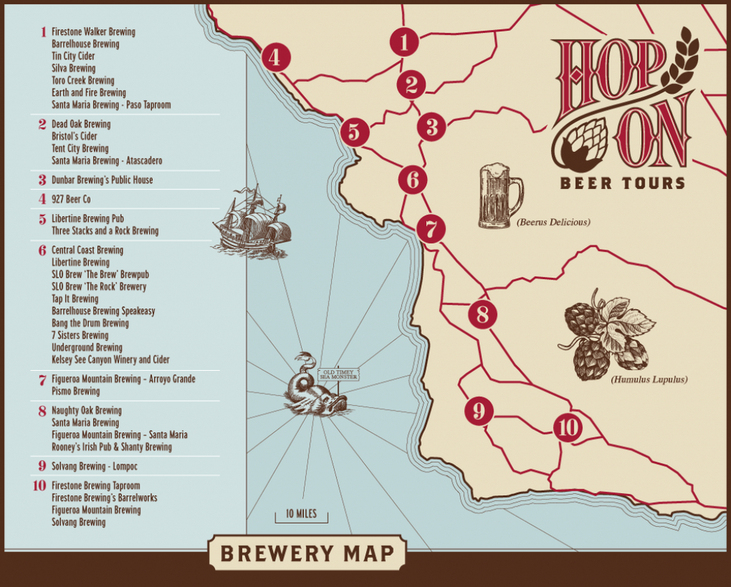 Brewery Map — Hop On Beer Tours - California Beer Map