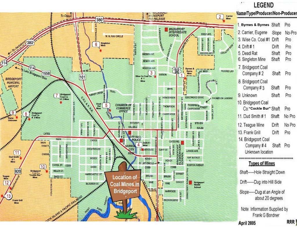 Bridgeport Coal Mines - Bridgeport Texas Map