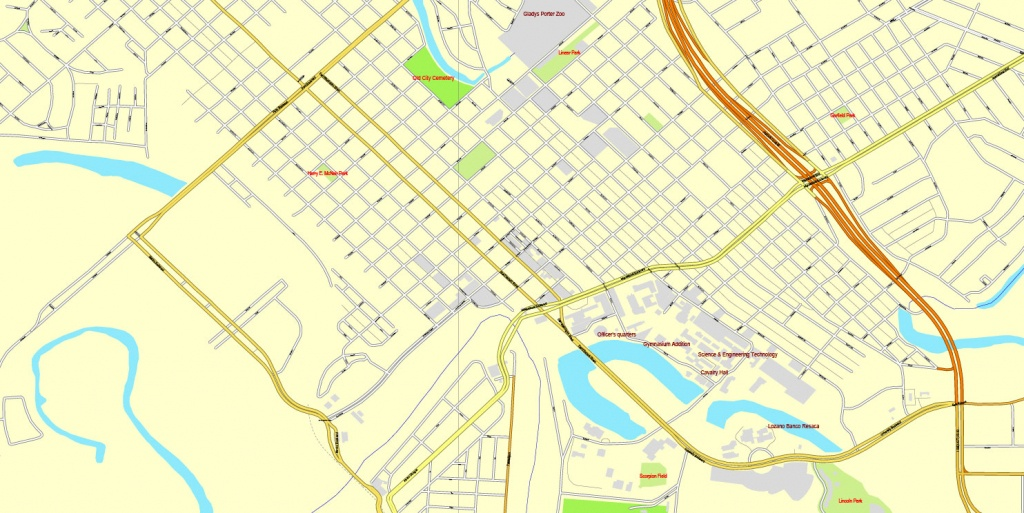 Brownsville, Texas, Us, + Matamoros, Mexico, Printable Vector Street - Map Of Brownsville Texas Area