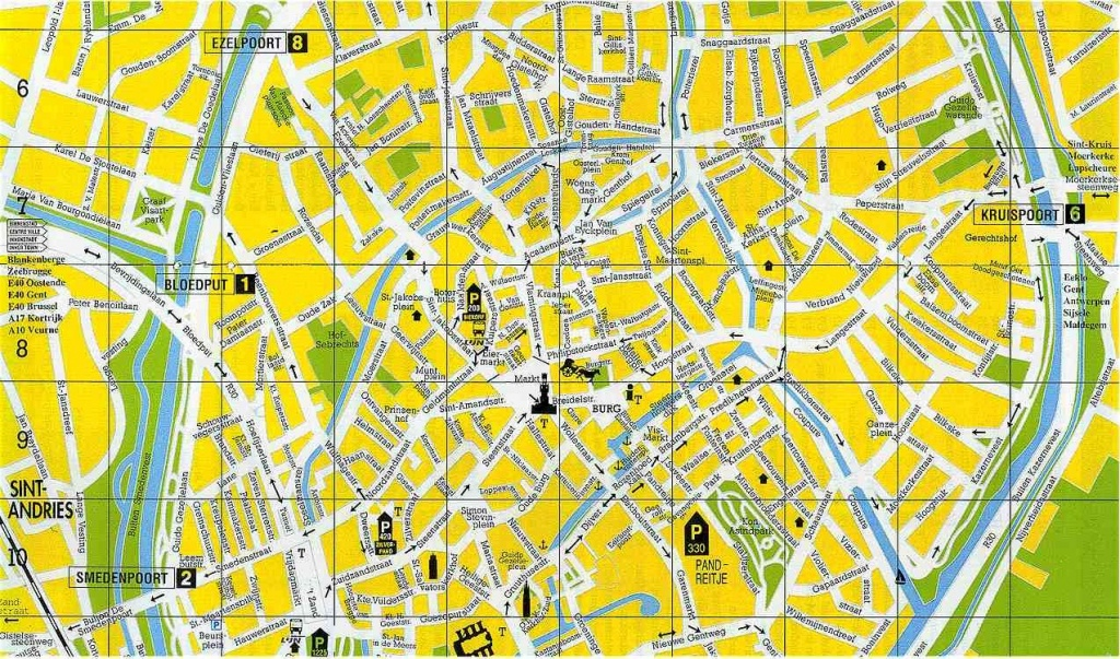 Bruges Street Map :central Part Of The City. Medieval Bruges - Printable Street Map Of Bruges