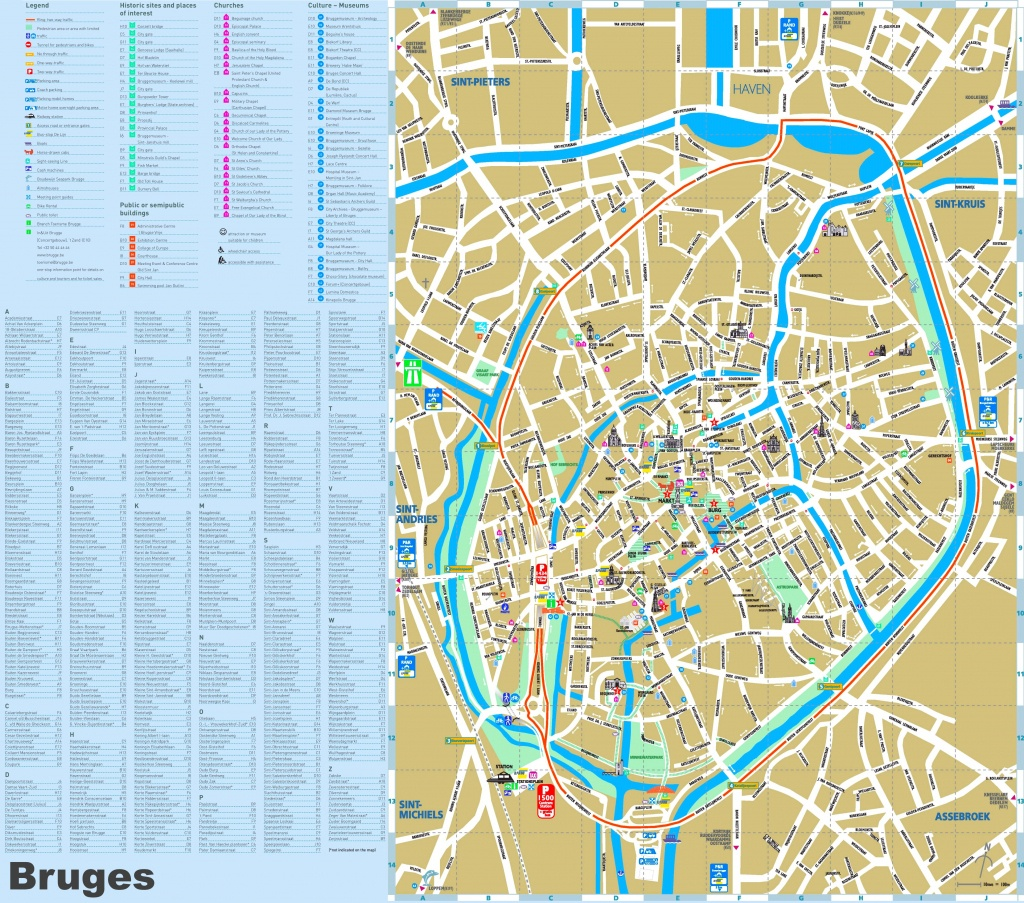 Bruges Tourist Attractions Map - Printable Street Map Of Bruges