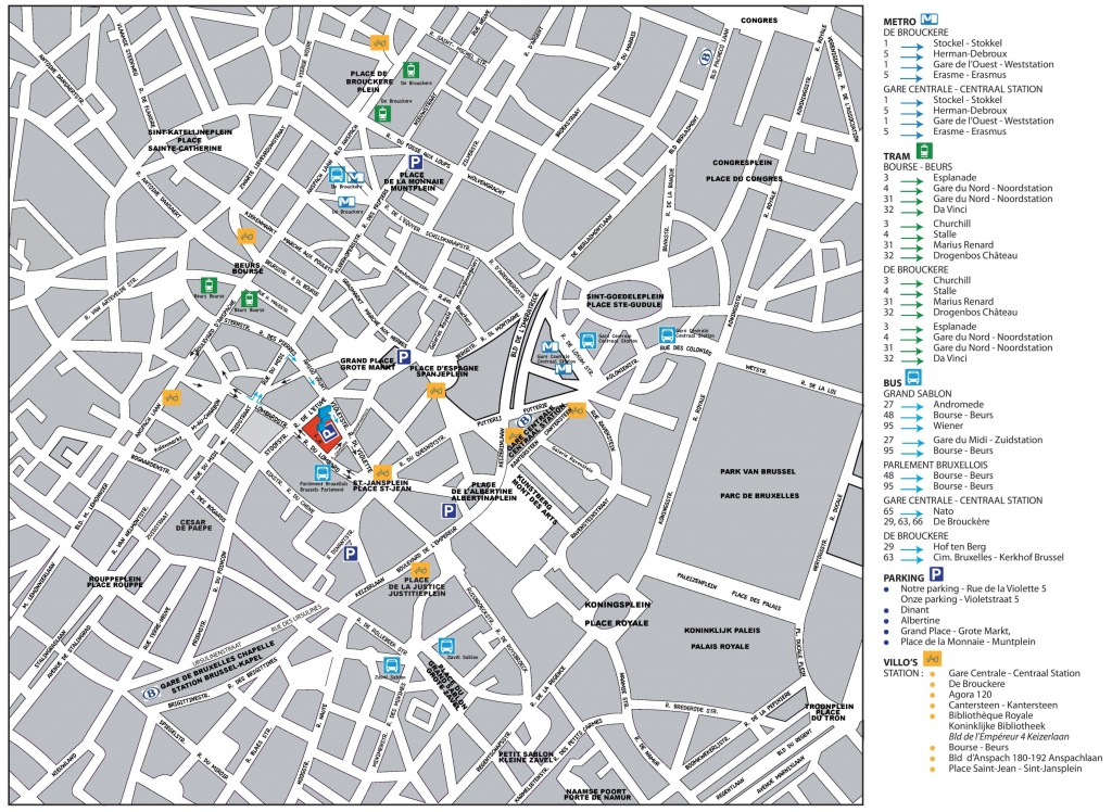 Brussels City Center Map - Printable Map Of Brussels