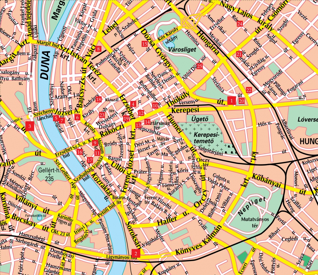 Budapest Street Map - Budapest Hungary • Mappery - Budapest Street Map Printable