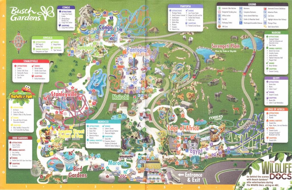 Busch Gardens Tampa - 2016 Park Map - Florida Busch Gardens Map