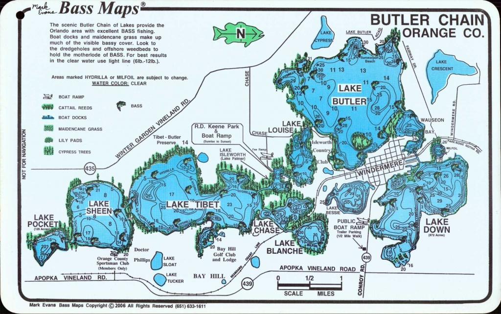 Butler Chain Of Lakes | Home > Florida - Bass Maps > Orlando Area - Florida Fishing Lakes Map