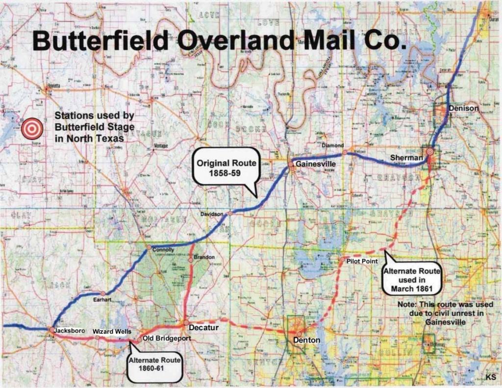 Butterfield Overland Mail Company - Bridgeport Texas Map
