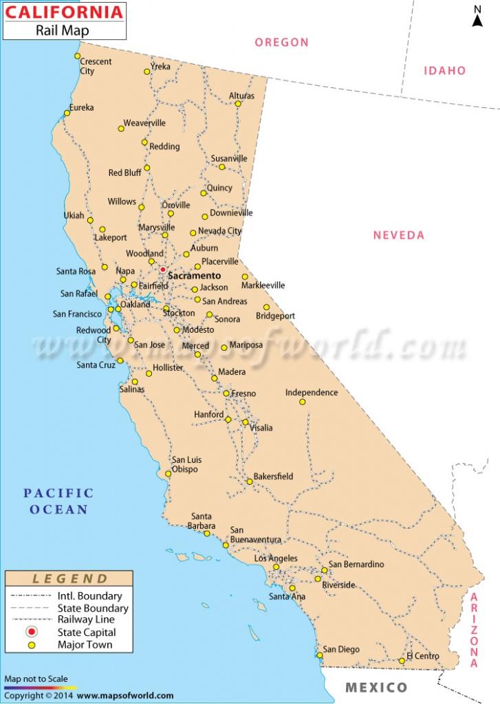 Buy California Rail Map - California Railroad Map
