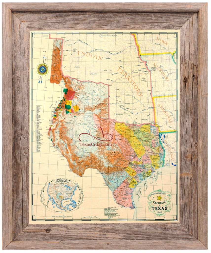 Buy Republic Of Texas Map 1845 Framed - Historical Maps And Flags - Map Of Texas Art